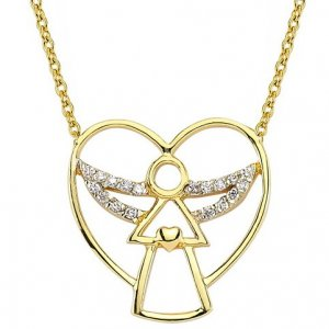0.07ct. Diamond 14K Solid Gold Angel Necklace