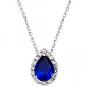 0.11ct. Diamond 0.40ct. Sapphire 14K Solid Gold Halo Necklace