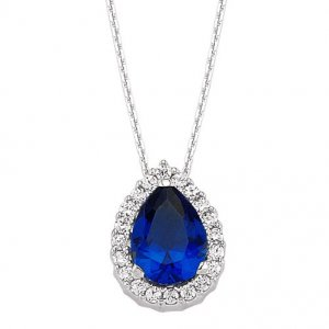 0.14ct. Diamond 0.75ct. Sapphire 14K Solid Gold Halo Necklace