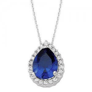 0.16ct. Diamond 1.20ct. Sapphire 14K Solid Gold Halo Necklace