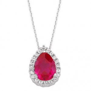 0.14ct. Diamond 0.70ct. Ruby 14K Solid Gold Halo Necklace