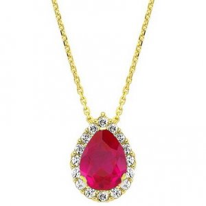 0.11ct. Diamond 0.45ct. Ruby 14K Solid Gold Halo Necklace