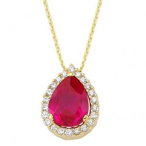 0.16ct. Diamond 1.08ct. Ruby 14K Solid Gold Halo Necklace