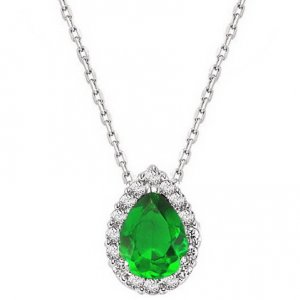 0.11ct. Diamond 0.30ct. Emerald 14K Solid Gold Halo Necklace