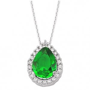 0.16ct. Diamond 0.90ct. Emerald 14K Solid Gold Halo Necklace