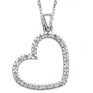 0.11ct. Diamond 18K Solid Gold Heart Necklace