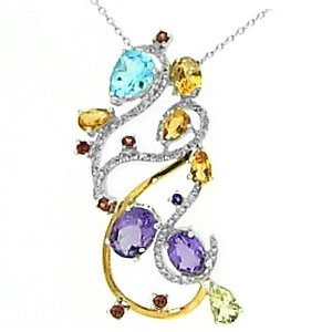 0.41ct. Diamond 18K Solid Gold Modern Design Amethyst Necklace