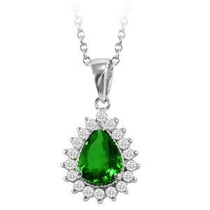 0.28ct. Diamond 0.95ct. Emerald 18K Solid Gold Halo Necklace
