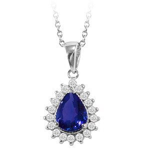 0.28ct. Diamond 1.10ct. Sapphire 18K Solid Gold Halo Necklace