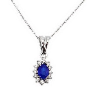 0.07ct. Diamond 0.25ct. Sapphire 18K Solid Gold Halo Necklace
