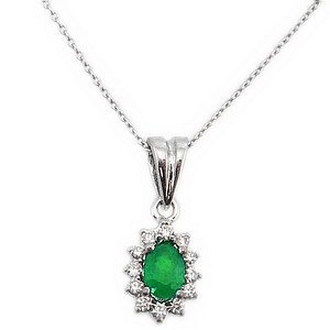 0.07ct. Diamond 0.15ct. Emerald 18K Solid Gold Halo Necklace
