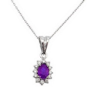 0.07ct. Diamond 18K Solid Gold Halo Amethyst Necklace