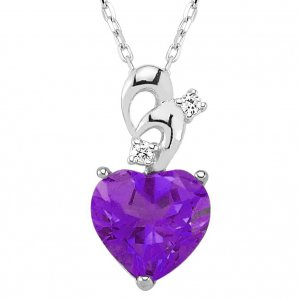 0.04ct. Diamond 14K Solid Gold Heart Amethyst Necklace