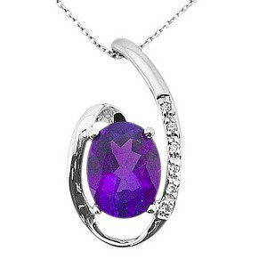 0.02ct. Diamond 14K Solid Gold Amethyst Necklace