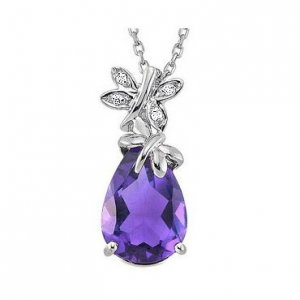 0.02ct. Diamond 14K Solid Gold Modern Design Butterfly Amethyst Necklace