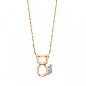 0.03ct. Diamond 14K Solid Gold Modern Design Cat Necklace
