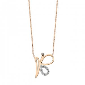0.05ct. Diamond 14K Solid Gold Modern Design Butterfly Necklace