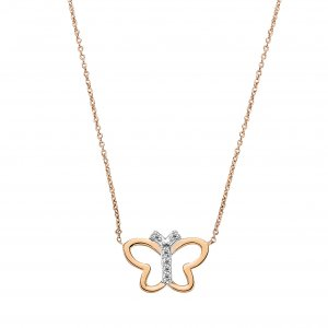 0.03ct. Diamond 14K Solid Gold Modern Design Butterfly Necklace