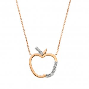 0.05ct. Diamond 14K Solid Gold Modern Design Necklace