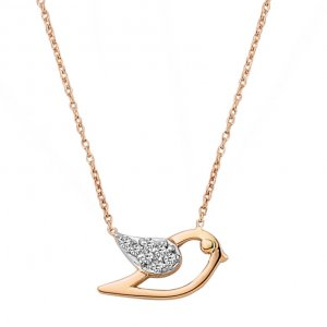 0.04ct. Diamond 14K Solid Gold Modern Design Bird Necklace