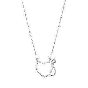 0.03ct. Diamond 14K Solid Gold Modern Design Heart Necklace