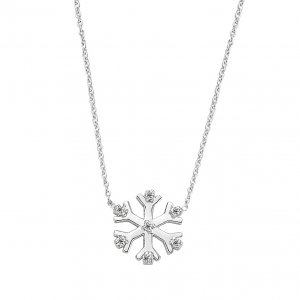 0.04ct. Diamond 14K Solid Gold Modern Design Snow Flake Necklace