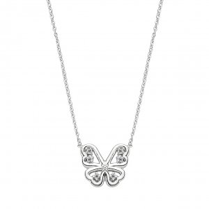 0.04ct. Diamond 14K Solid Gold Modern Design Butterfly Necklace