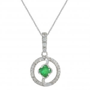 0.13ct. Diamond 0.17ct. Emerald 18K Solid Gold Modern Design Necklace
