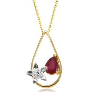 0.08ct. Diamond 1.32ct. Ruby 18K Solid Gold Modern Design Flower Necklace