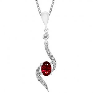 0.13ct. Diamond 0.78ct. Ruby 18K Solid Gold Modern Design Necklace