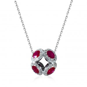 0.3ct. Diamond 1.62ct. Ruby 18K Solid Gold Modern Design Ball Necklace