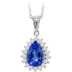 0.25ct. Diamond 18K Solid Gold Halo Tanzanite Necklace