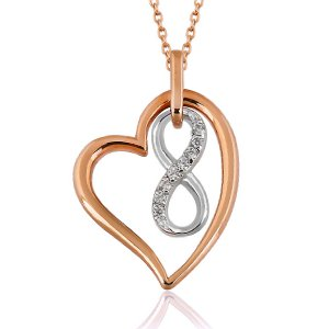 0.04ct. Diamond 8K Solid Gold Modern Design Heart Infinity Necklace