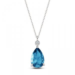 0.02ct. Diamond 14K Solid Gold Modern Design Blue Topaz Necklace