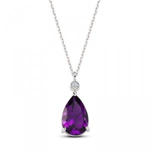 0.02ct. Diamond 14K Solid Gold Modern Design Amethyst Necklace