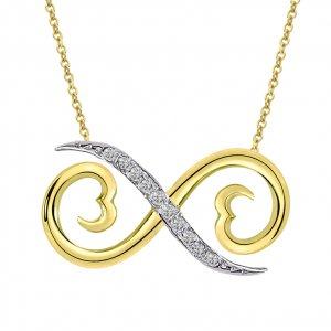 0.05ct. Diamond 14K Solid Gold Modern Design Infinity Necklace