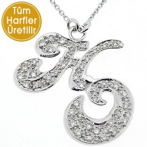 0.38ct. Diamond 18K Solid Gold Initial Double Letter Necklace