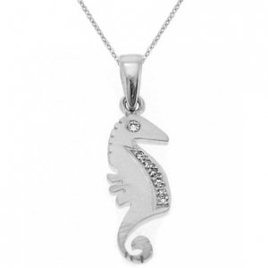 0.04ct. Diamond 18K Solid Gold Sea Horse Necklace