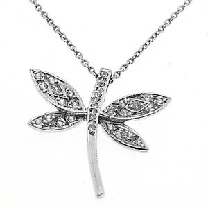 0.17ct. Diamond 18K Solid Gold Butterfly Necklace