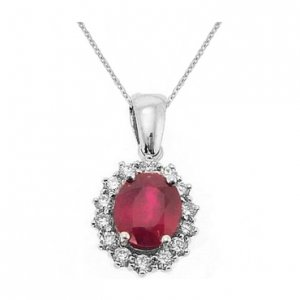 0.42ct. Diamond 1.97ct. Ruby 18K Solid Gold Halo Necklace