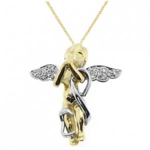 0.09ct. Diamond 18K Solid Gold Modern Design Angel Necklace