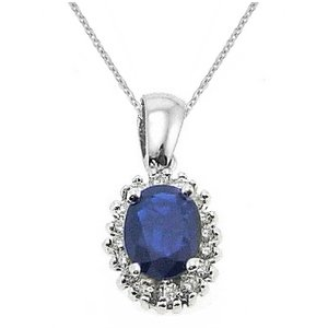 0.26ct. Diamond 1.51ct. Sapphire 18K Solid Gold Halo Necklace