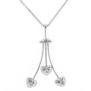 0.11ct. Diamond 18K Solid Gold 3 Stone Heart Necklace