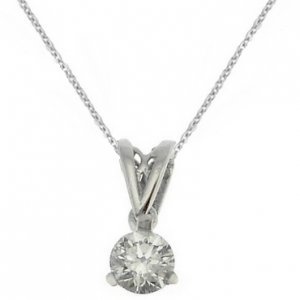 0.16ct. Diamond 18K Solid Gold Solitaire Classic Necklace