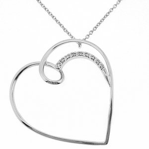 0.03ct. Diamond 18K Solid Gold Heart Necklace