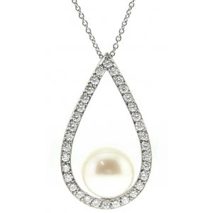 0.61ct. Diamond 18K Solid Gold Modern Design Pearl Necklace