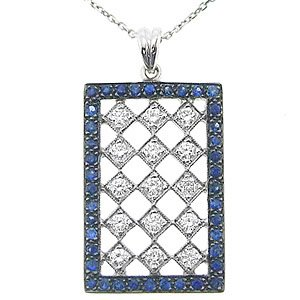0.52ct. Diamond 0.55ct. Sapphire 18K Solid Gold Necklace