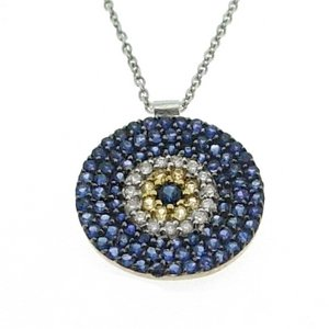0.12ct. Diamond 1.48ct. Sapphire 18K Solid Gold Evil Eye Necklace