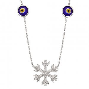 0.23ct. Diamond 18K Solid Gold Modern Design Snow Flake Necklace