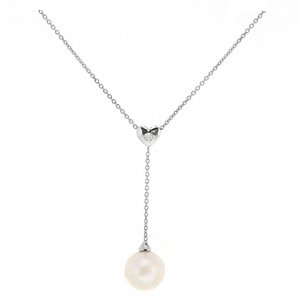 0.04ct. Diamond 18K Solid Gold Heart Pearl Necklace